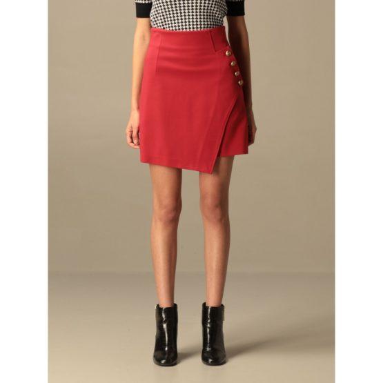 Pinko • korte rode rok met gouden knopen