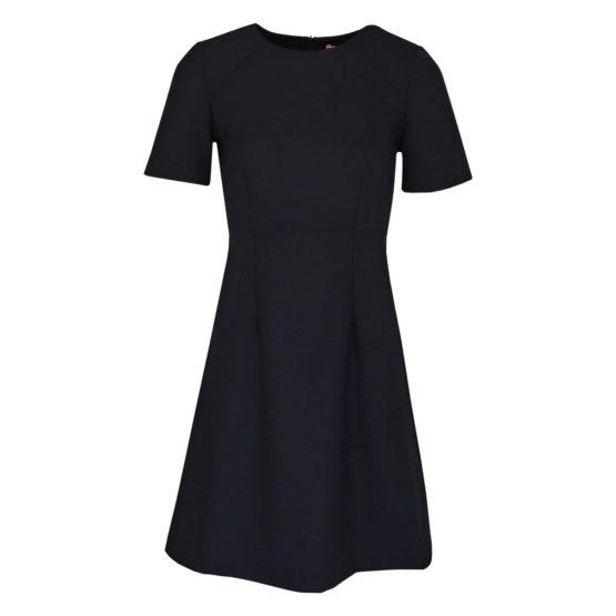 Twinset • belijnde zwarte jurk met korte mouwen