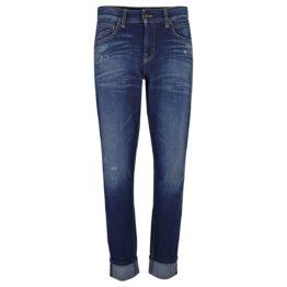 Cambio Jeans • donkerblauwe boyfriend jeans Kerry met beschadigingen