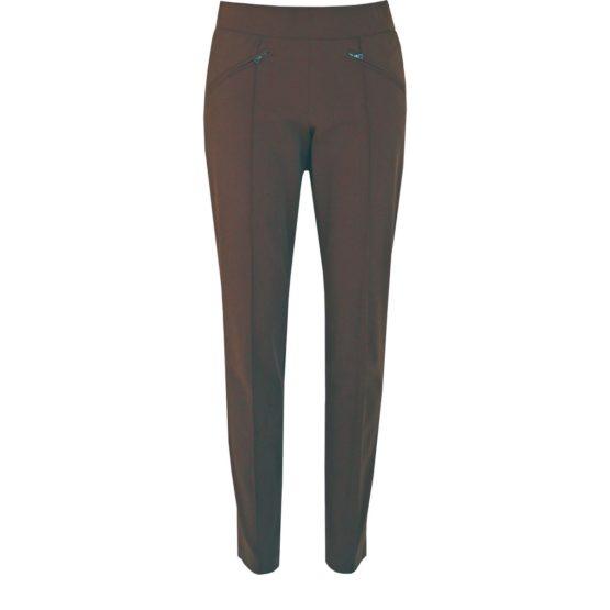 Cambio • donkerbruine pantalon met ritsen Rainbow