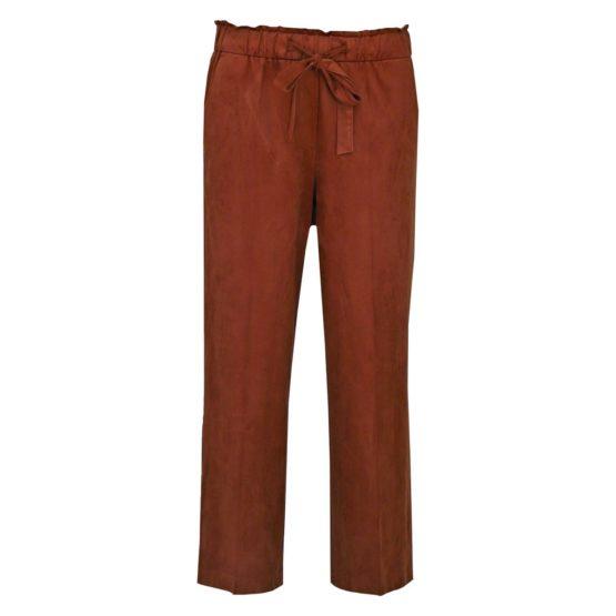Cambio Sport • bruine wijde broek met suedelook