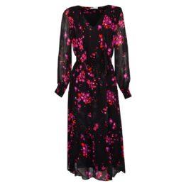Louis and Mia • zwarte maxi jurk met paarse print