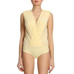 Elisabetta Franchi • lichtgele zijden body met strikjes