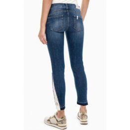 Liu Jo • blauwe slim fit jeans Monroe met wit kant