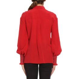 Pinko • rode zijden blouse Alberto met elastische manchetten
