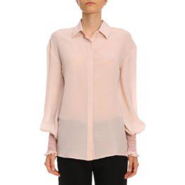Pinko • roze zijden blouse met elastische manchetten