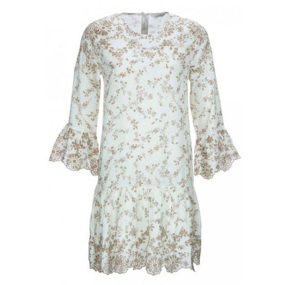 Frogbox • witte jurk met beige bloemen