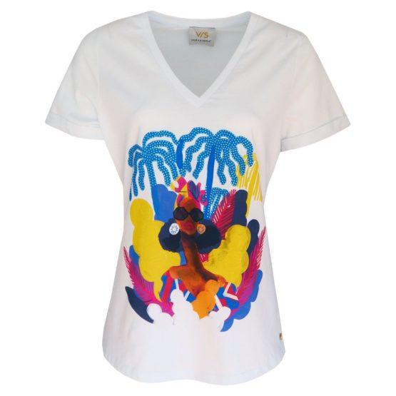 Verysimple • wit shirt met blauwe palmen