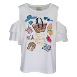 Verysimple • off-white t-shirt met open schouders