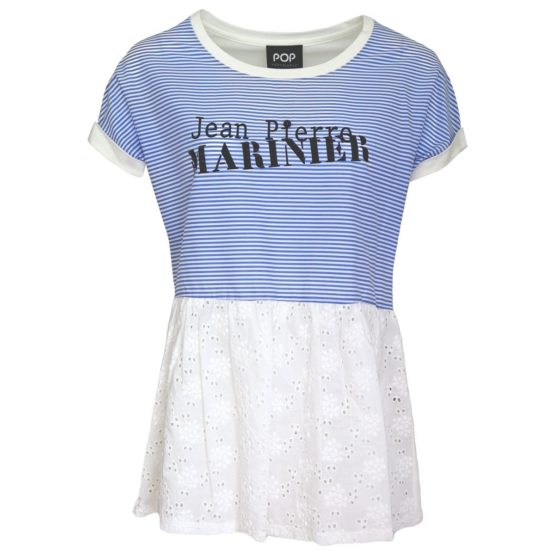 Verysimple • blauw gesteept shirt met kant