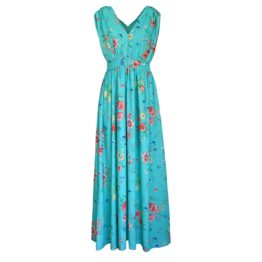 Verysimple • turquoise maxi jurk met bloemen