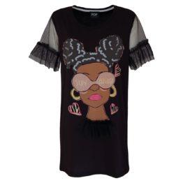 Verysimple • lang zwart shirt met dame