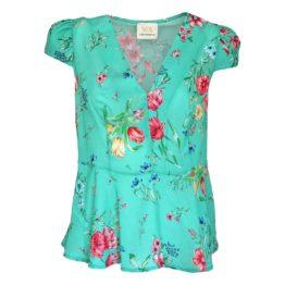 Verysimple • turquoise top met bloemen
