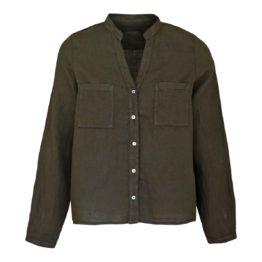 Backstage • linnen blouse in dark olive
