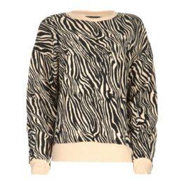 SET • beige trui met zebra print